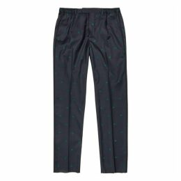 Gucci Navy Embroidered Wool Trousers