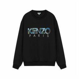 Kenzo Black Appliquéd Logo Stretch-jersey Sweatshirt