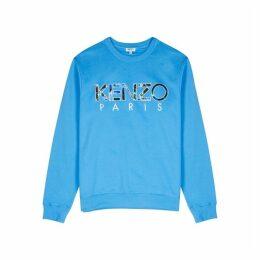 Kenzo Blue Logo-appliquéd Cotton Sweatshirt