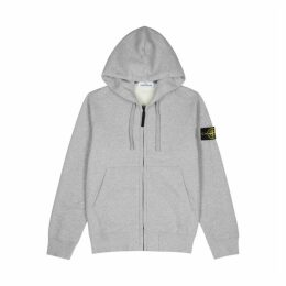 Stone Island Grey Hooded Cotton Sweatshirt