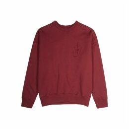 JW Anderson Burgundy Logo-embroidered Cotton Sweatshirt
