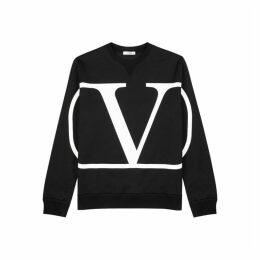 Valentino Black Logo-print Cotton-blend Sweatshirt