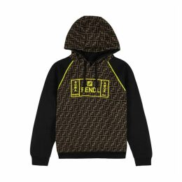 Fendi Monogrammed Hooded Cotton Sweatshirt