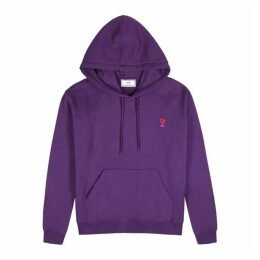 AMI Purple Embroidered-logo Cotton Sweatshirt