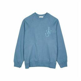 JW Anderson Blue Logo-embroidered Cotton Sweatshirt