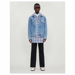 Checked shell hooded jacket