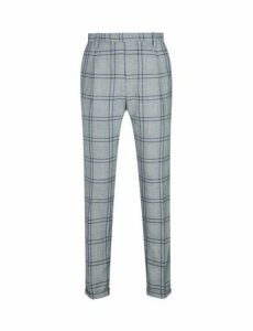 Mens 1904 Dalton Grey Tapered Graphic Prince Of Wales Check Trousers*, Grey