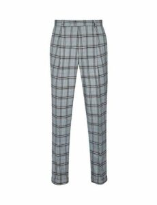 Mens 1904 Dalton Grey Tapered Tealo Check Trousers*, Blue
