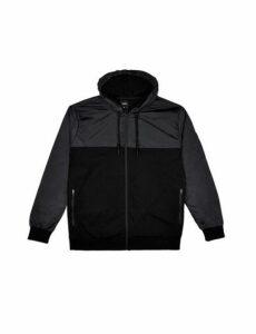 Mens Big & Tall Black Nylon Cut And Sew Zip Through Hoodie, Black