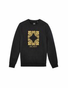 Mens Black Heraldic Embroidered Sweatshirt, Black