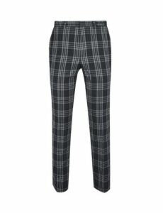 Mens Grey Large Tartan Skinny Fit Suit Trousers, GREY