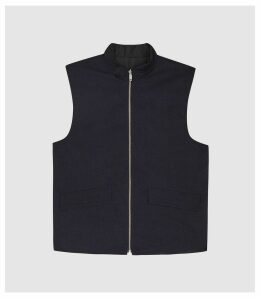 Reiss Voyage - Reversible Quilted Gilet in Black/Navy, Mens, Size XXL