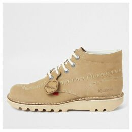 Mens River Island Kickers light Brown leather lace-up boots