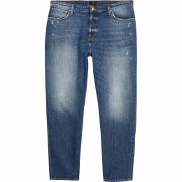 Mens River Island Dark Blue Jay loose fit cropped jeans