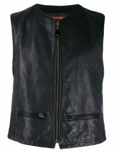 Giorgio Armani Pre-Owned 1990's zipped leather vest - Grey