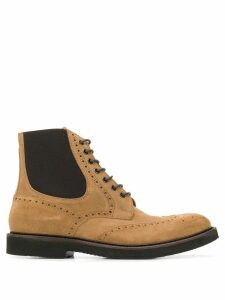 Eleventy perforated lace-up boots - Neutrals