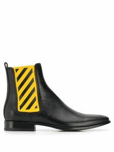 Off-White diagonal stripe Chelsea boots - Black