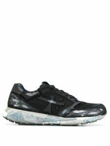 White Premiata brushstroke sneakers - Black