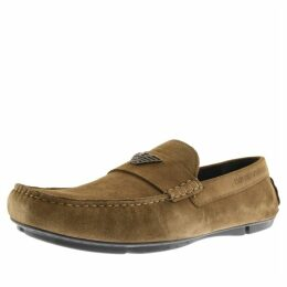 Emporio Armani Suede Driver Shoes Khaki