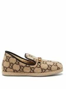 Gucci - Fria Gg Print Felted Wool Loafers - Mens - Beige