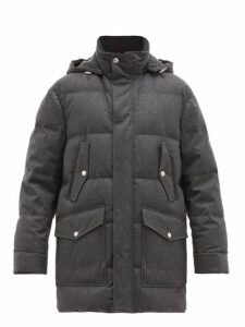 Brunello Cucinelli - Hooded Down Quilted Wool Blend Parka - Mens - Grey