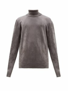 Balenciaga - Logo Embroidered Roll Neck Chenille Sweater - Mens - Grey