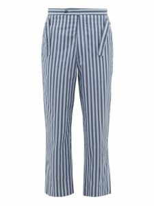 Bode - Striped Side-tie Cotton Trousers - Mens - Blue