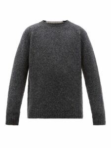 Loewe - Logo Embroidered Panelled Wool Sweater - Mens - Grey