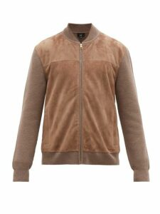 Dunhill - Knitted Sleeve Suede Bomber Jacket - Mens - Beige
