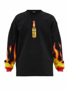 Vetements - Hot Sauce Print Jersey Sweater - Mens - Black