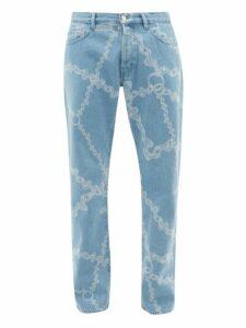 Aries - Lilly Chain Print Straight Leg Jeans - Mens - Blue