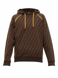 Fendi - Ff Print Cotton Hooded Sweatshirt - Mens - Brown
