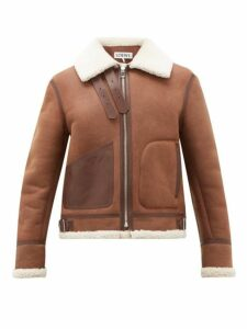 Loewe - Shearling Aviator Jacket - Mens - Dark Brown