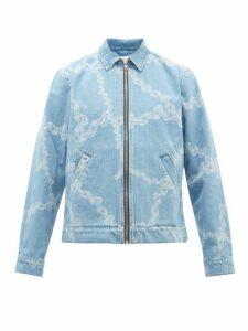 Aries - Chain Print Cotton Denim Jacket - Mens - Blue