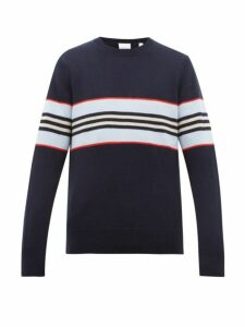 Burberry - Striped Cashmere Sweater - Mens - Navy