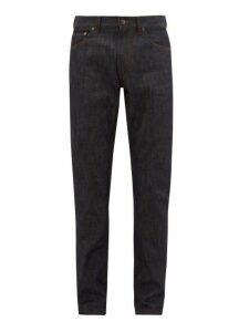 Burberry - Straight Leg Leather Patch Jeans - Mens - Dark Blue