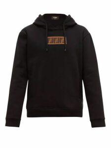 Fendi - Logo Appliqué Cotton Blend Hooded Sweatshirt - Mens - Black