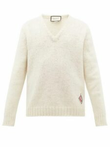 Gucci - V Neck Gg Logo Patch Wool Sweater - Mens - White