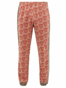 Gucci - Tiger Jacquard Cotton Blend Track Pants - Mens - Red Multi