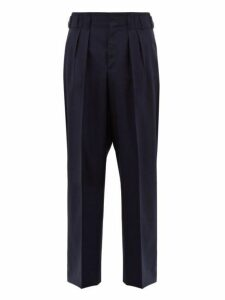 Maison Kitsuné - Double Pleated Wool Trousers - Mens - Blue