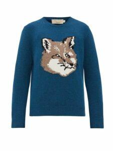 Maison Kitsuné - Fox Head Wool Sweater - Mens - Mid Blue