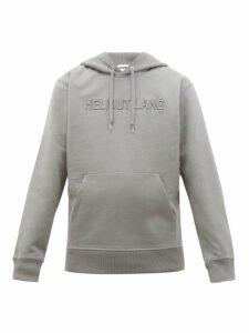 Helmut Lang - Logo Embroidered Cotton Hooded Sweatshirt - Mens - Grey