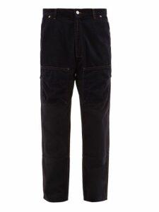 Jacquemus - Corduroy Panelled Straight Leg Jeans - Mens - Navy
