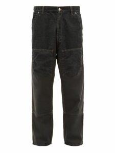 Jacquemus - Corduroy Panelled Straight Leg Jeans - Mens - Grey