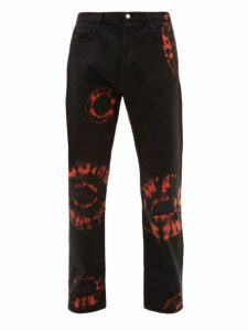 Aries - Lilly Tie Dye Cotton Jeans - Mens - Black Orange
