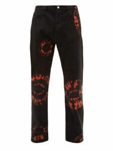 Aries - Lilly Tie Dye Cotton Jeans - Mens - Black Orange