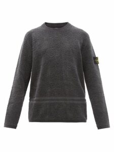 Stone Island - Logo Patch Cotton Chenille Sweater - Mens - Dark Grey