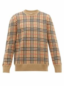 Burberry - Fletcher Check Jacquard Merino Wool Sweater - Mens - Camel