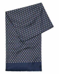 Navy Printed Silk Scarf Size OSFA by Charles Tyrwhitt