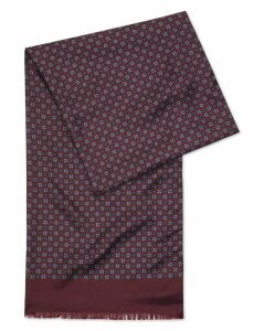 Burgundy Printed Silk Scarf